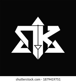 NK Logo monogram isolated with triangle shape design template on black background