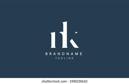 NK Lowercase Letter Initial Icon Logo Design Vector Illustration