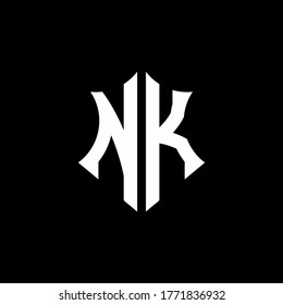 NK monogram logo with a sharp shield style design template