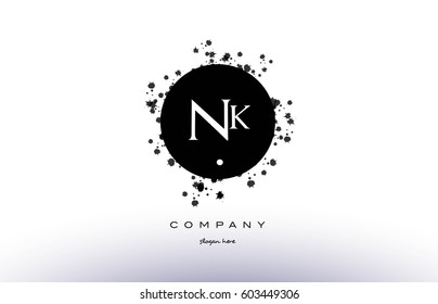 nk n k  black white circle grunge splash vintage retro alphabet company logo design vector icon template