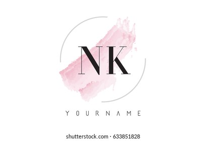 NK N K Watercolor Letter Logo Design with Circular Shape and Pastel Pink Brush.