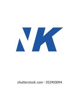 NK negative space letter logo blue