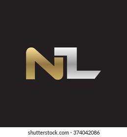 NL company linked letter logo golden silver black background