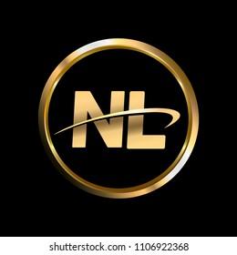 NL initial circle company logo gold black background
