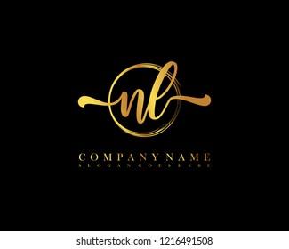 NL initial handwriting logo circle template vector