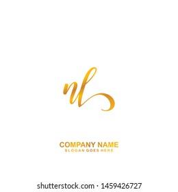 NL Initial handwriting logo vector