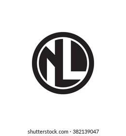 NL initial letters circle monogram logo