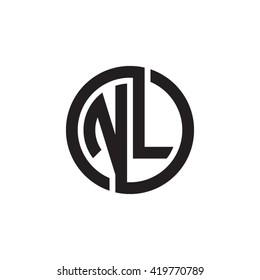 NL initial letters looping linked circle monogram logo