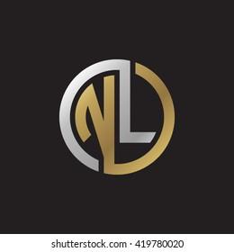 NL initial letters looping linked circle elegant logo golden silver black background