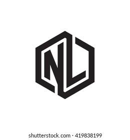 NL initial letters looping linked hexagon monogram logo