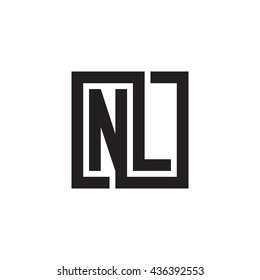 NL initial letters looping linked square monogram logo