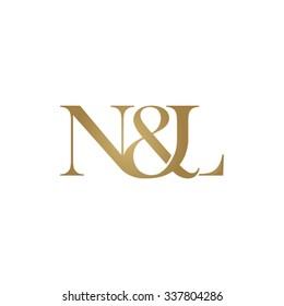 N&L Initial logo. Ampersand monogram golden logo