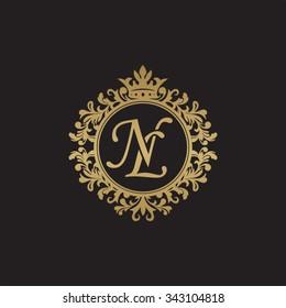 NL initial luxury ornament monogram logo