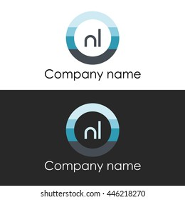 NL letter circle shape icon logo white blue