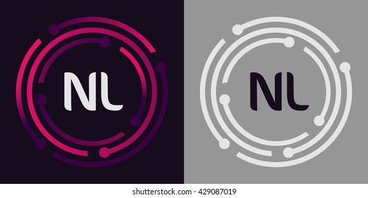 NL letters business logo icon design template elements in abstract background logo, design identity in circle, alphabet letter
