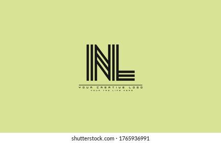 NL LN abstract vector logo monogram template