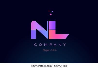 nl n l creative color blue background pink purple blue magenta alphabet letter company logo vector icon design