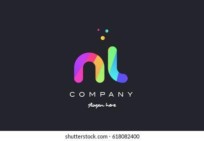 nl n l  creative rainbow green orange blue purple magenta pink artistic alphabet company letter logo design vector icon template