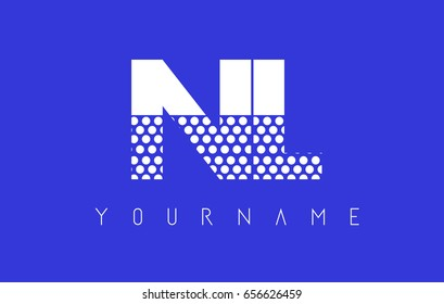 NL N L Dotted Pattern Letter Logo Design Vector with Blue Background.