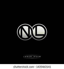 NL N L initial letter linked circle capital monogram logo modern template silver color edition