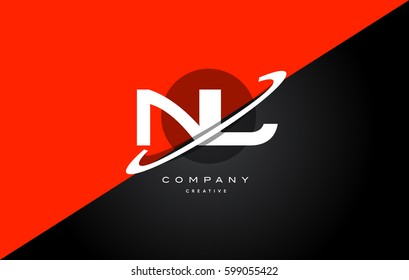 nl n l  red black white technology swoosh alphabet company letter logo design vector icon template