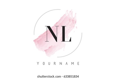 NL N L Watercolor Letter Logo Design with Circular Shape and Pastel Pink Brush.