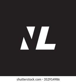 NL negative space letter logo black background