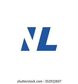 NL negative space letter logo blue