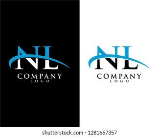 nl/ln initial letter logotype company logo swoosh design vector