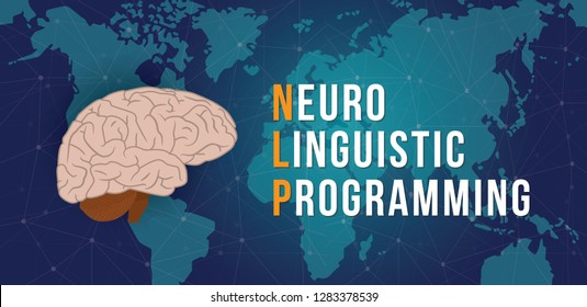 nlp - neuro linguistic programming concept with world map and cyberspace background - vector illustration