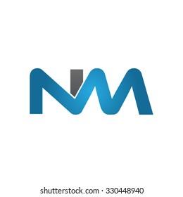 NM company linked letter logo blue