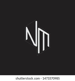 NM Initial Letters logo monogram with up to down style isolated on black background