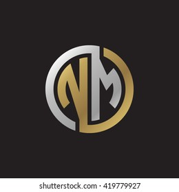 NM initial letters looping linked circle elegant logo golden silver black background