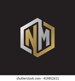 NM initial letters looping linked hexagon elegant logo golden silver black background