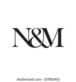 N&M Initial logo. Ampersand monogram logo