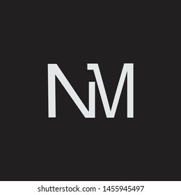 NM initial logo Capital Letters black background