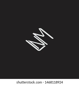 NM Initial Logo letters with rotate squere template