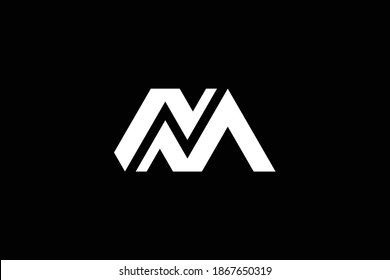 NM letter logo design on luxury background. MN monogram initials letter logo concept. NM icon design. MN elegant and Professional white color letter icon design on black background. M N