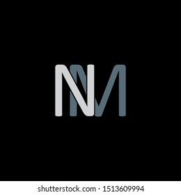 NM Letter monogram with abstrac concept style design