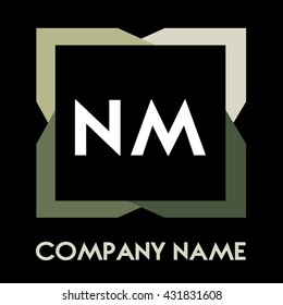 NM letters business logo creative  icon design template elements in abstract background logo, design identity in square with four colors, modern alphabet letters