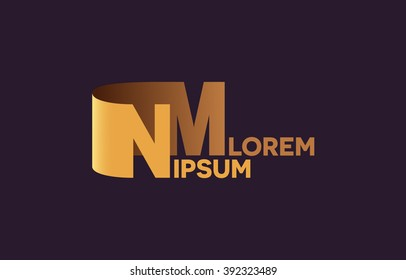 NM letters logo, N and M letters logo alphabet design.