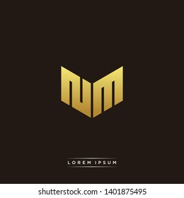 NM Logo Letter Initial Logo Designs Templete with Gold and Black Background