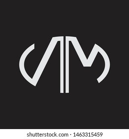 NM Logo letter oval monogram design template with black and white colors