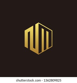 NM Logo Monogram with Negative space gold colors