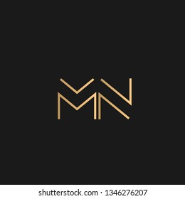 NM or MN logo vector. Initial letter logo, golden text on black background