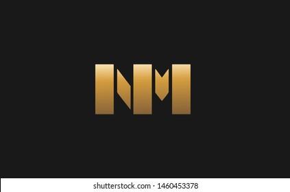 NM. Monogram of Two letters N M. Luxury, simple, minimal and elegant NM logo design. Vector illustration template