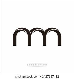 nm n m Initial Letter Split Lowercase Modern Monogram linked outline rounded logo