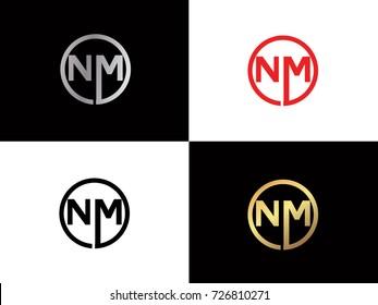NM text gold black silver modern creative alphabet letter logo design vector icon