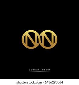 NN initial letter linked circle capital monogram logo modern template
