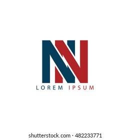 NN initial letter linked uppercase logo
